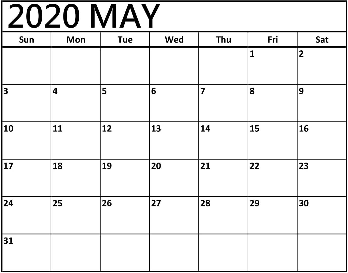 Calendar For May 2020 Template - 2019 Calendars For Students