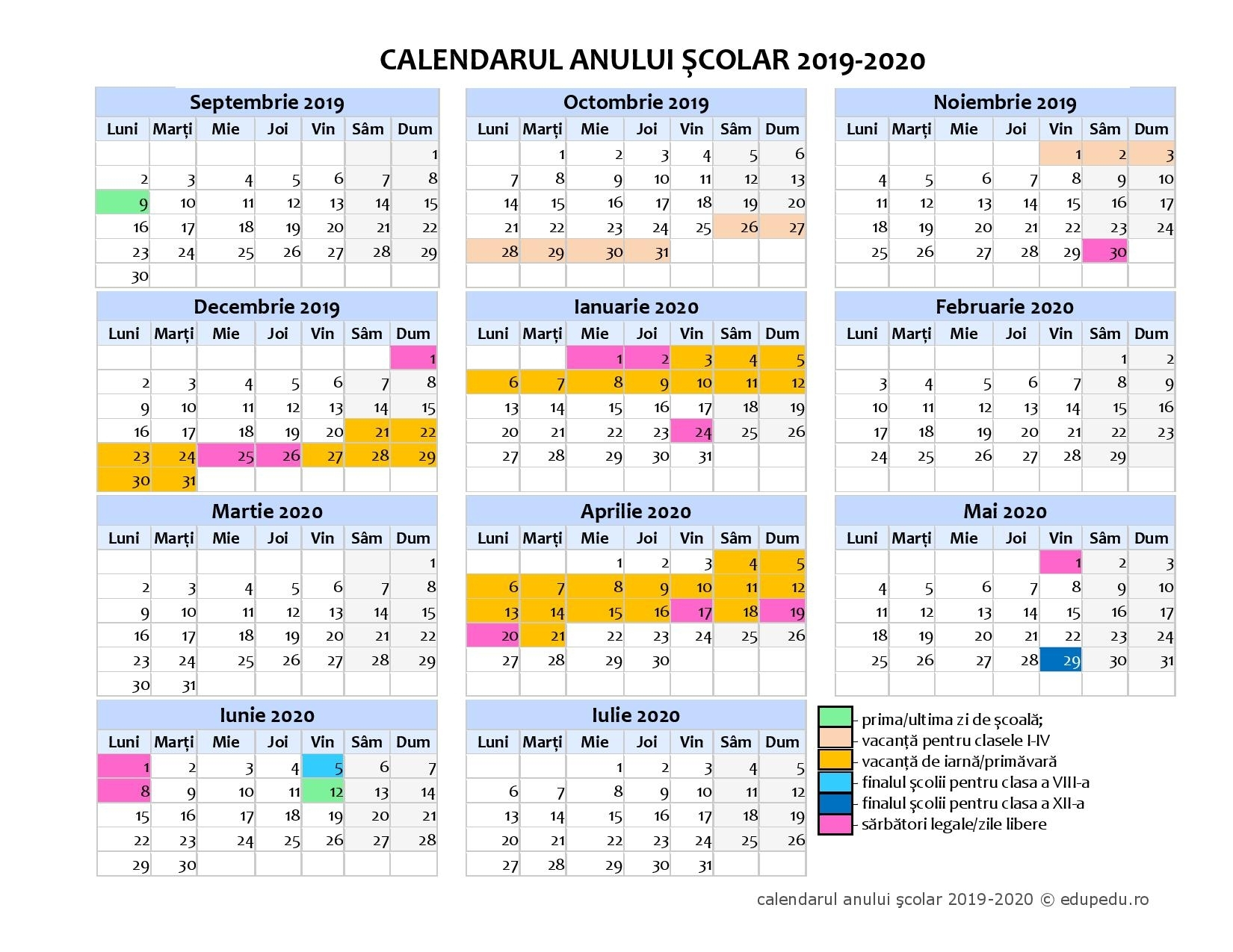 "Calendar Școlar 2019 - 2020 - Liceul Pedagogic ""Gheorghe Șincai"""