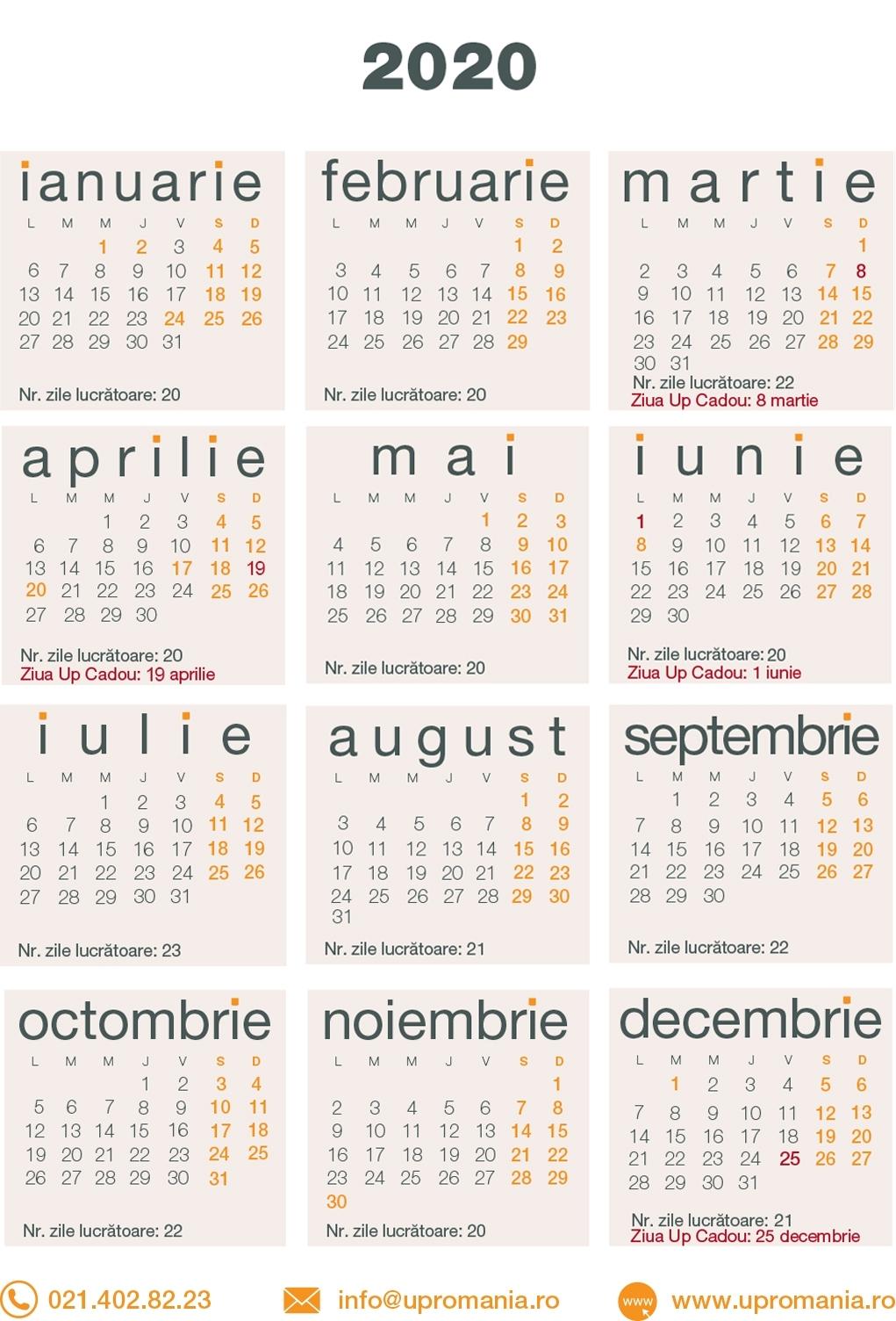 Calendar Zile Lucratoare 2020 | Up Romania
