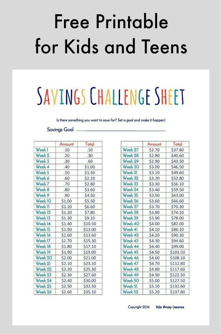Challenge Kids And Teens To Save Their Money [Free Printable
