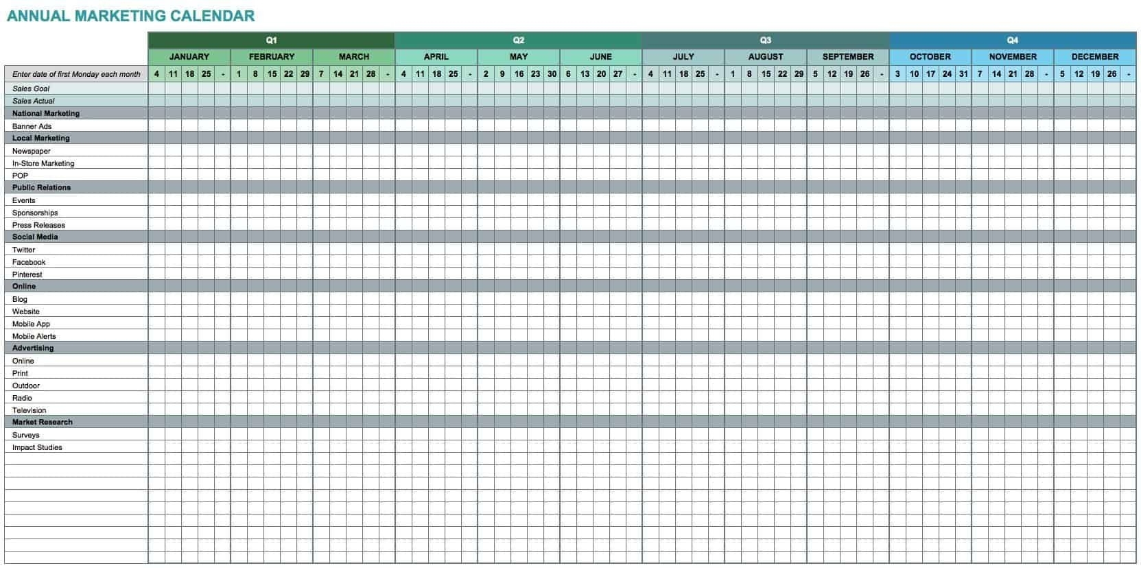 Excel Calendar Template Free ~ Addictionary