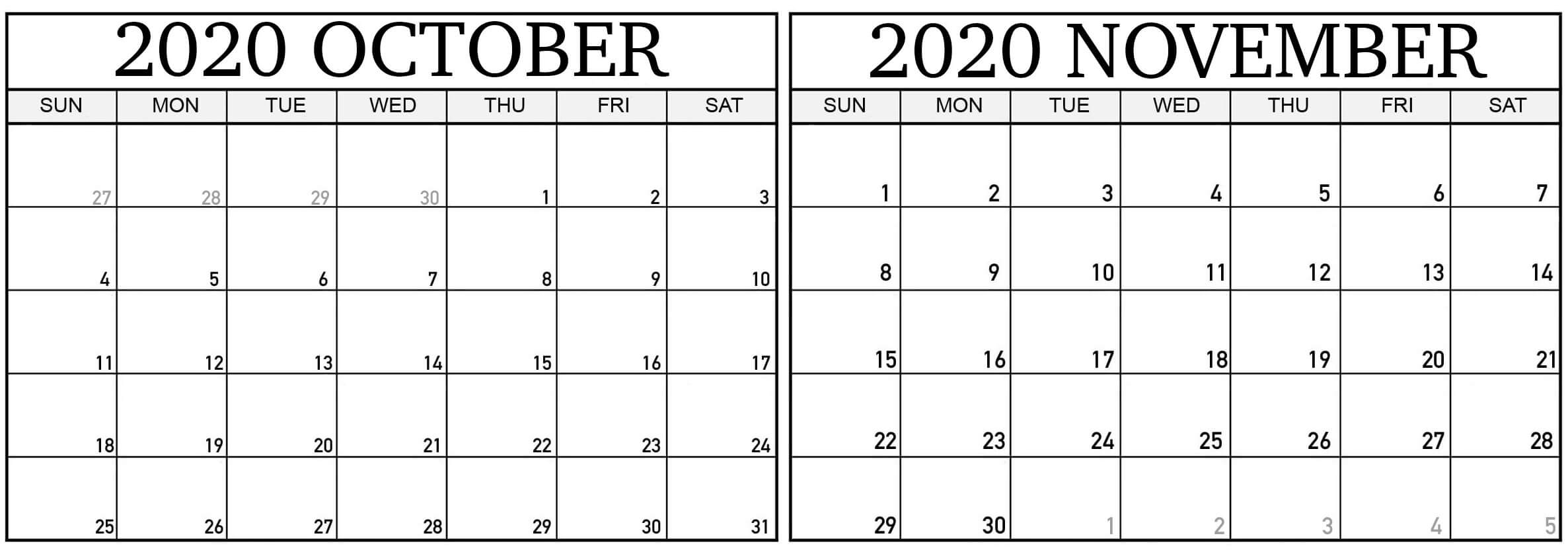 Free 2020 October November Calendar With Holidays - Set Your