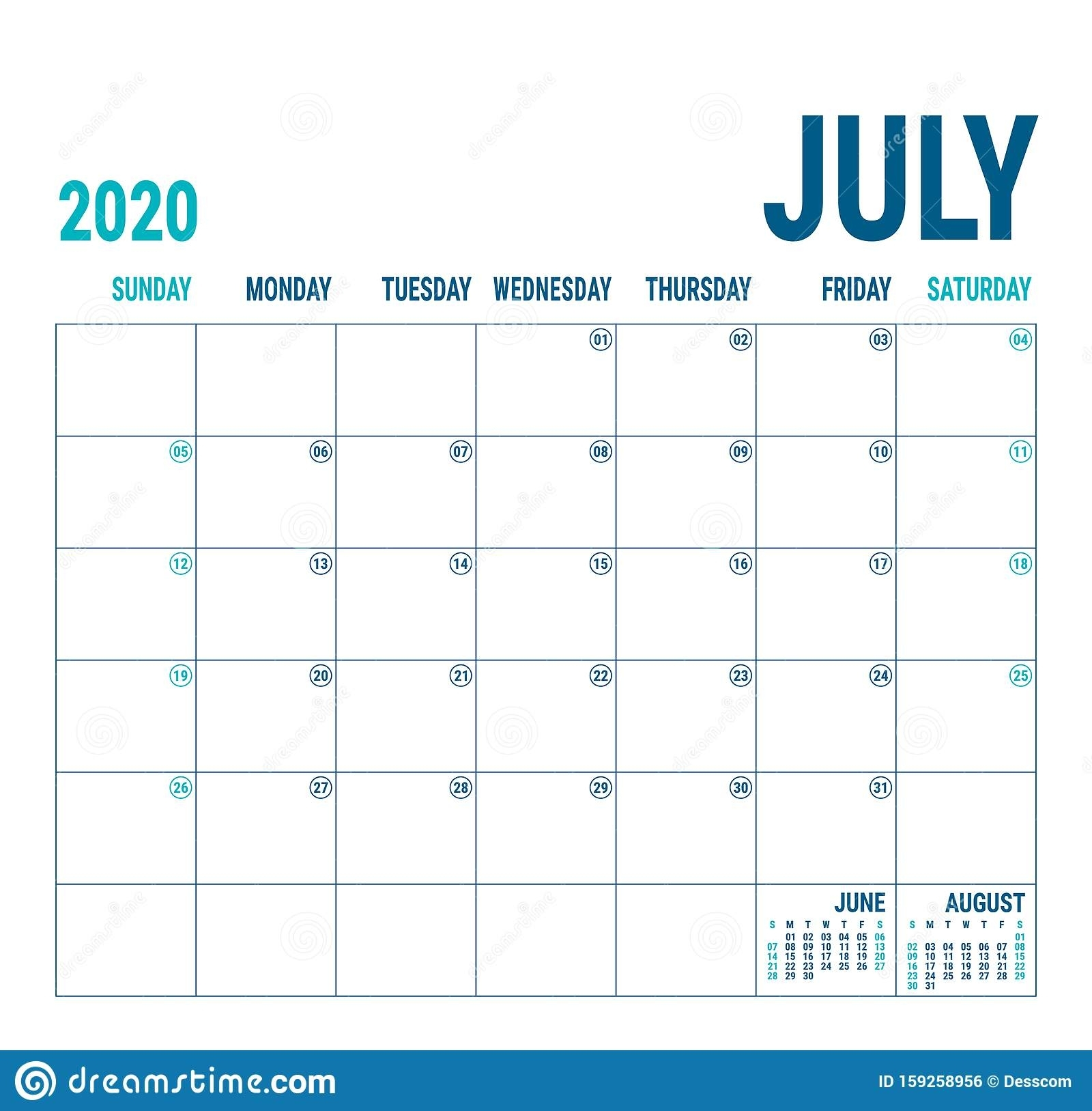July 2020. Calendar Planner. English Calender Template