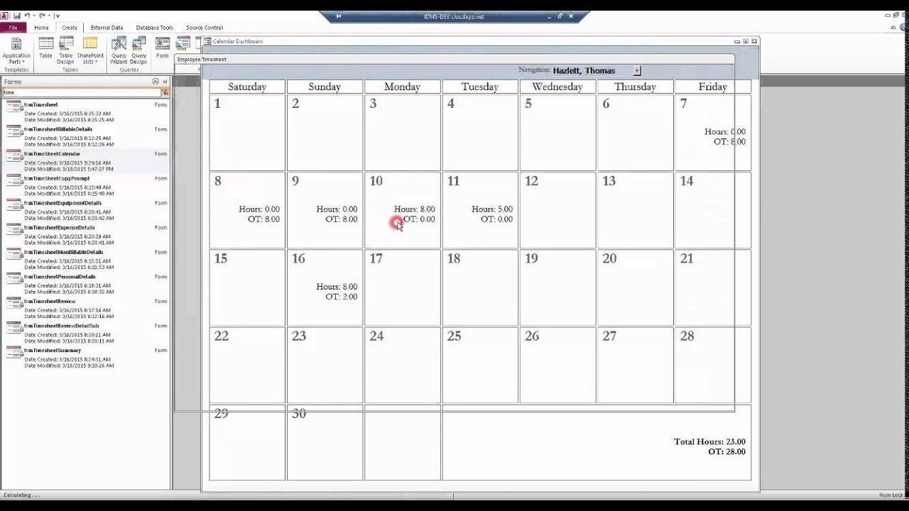Microsoft Access Custom Calendar Control Walkthrough