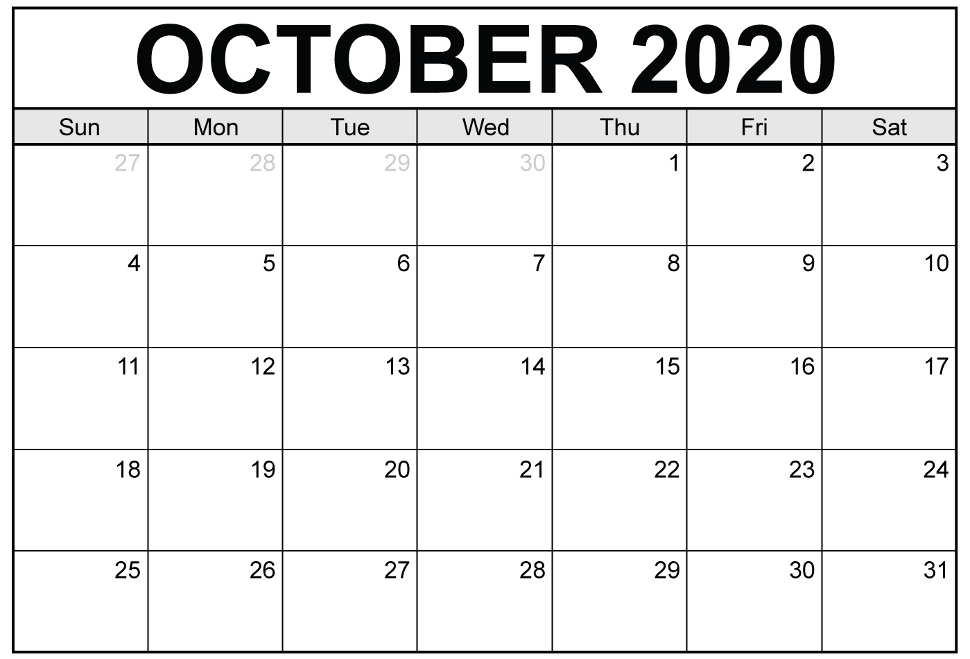 Monthly Calendar October 2020 Printable Template - Set Your