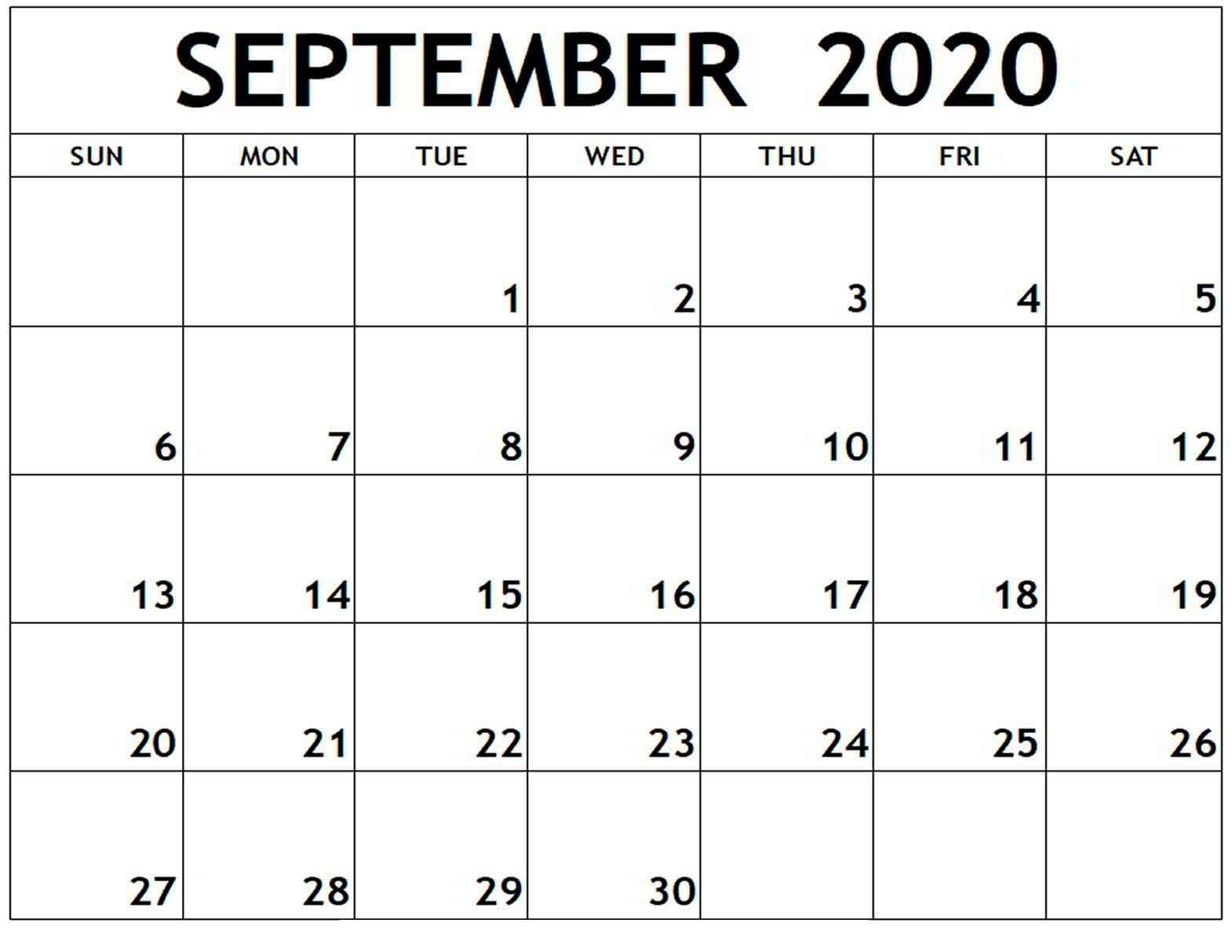 Printable Monthly Calendar September 2020 - Free Printable
