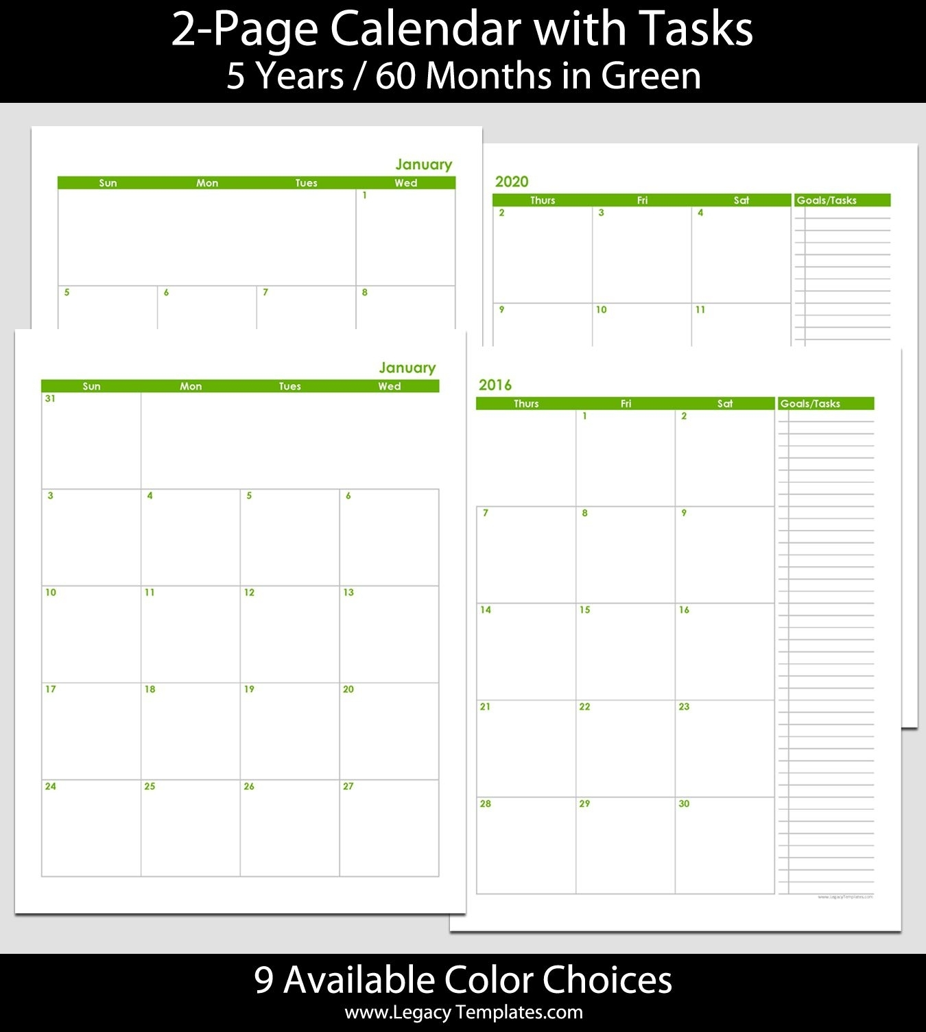 2016 Thru 2020 60-Month 2-Page Calendar – 8 1/2″ X 11″. The Calendars Are … | Printable Calendar