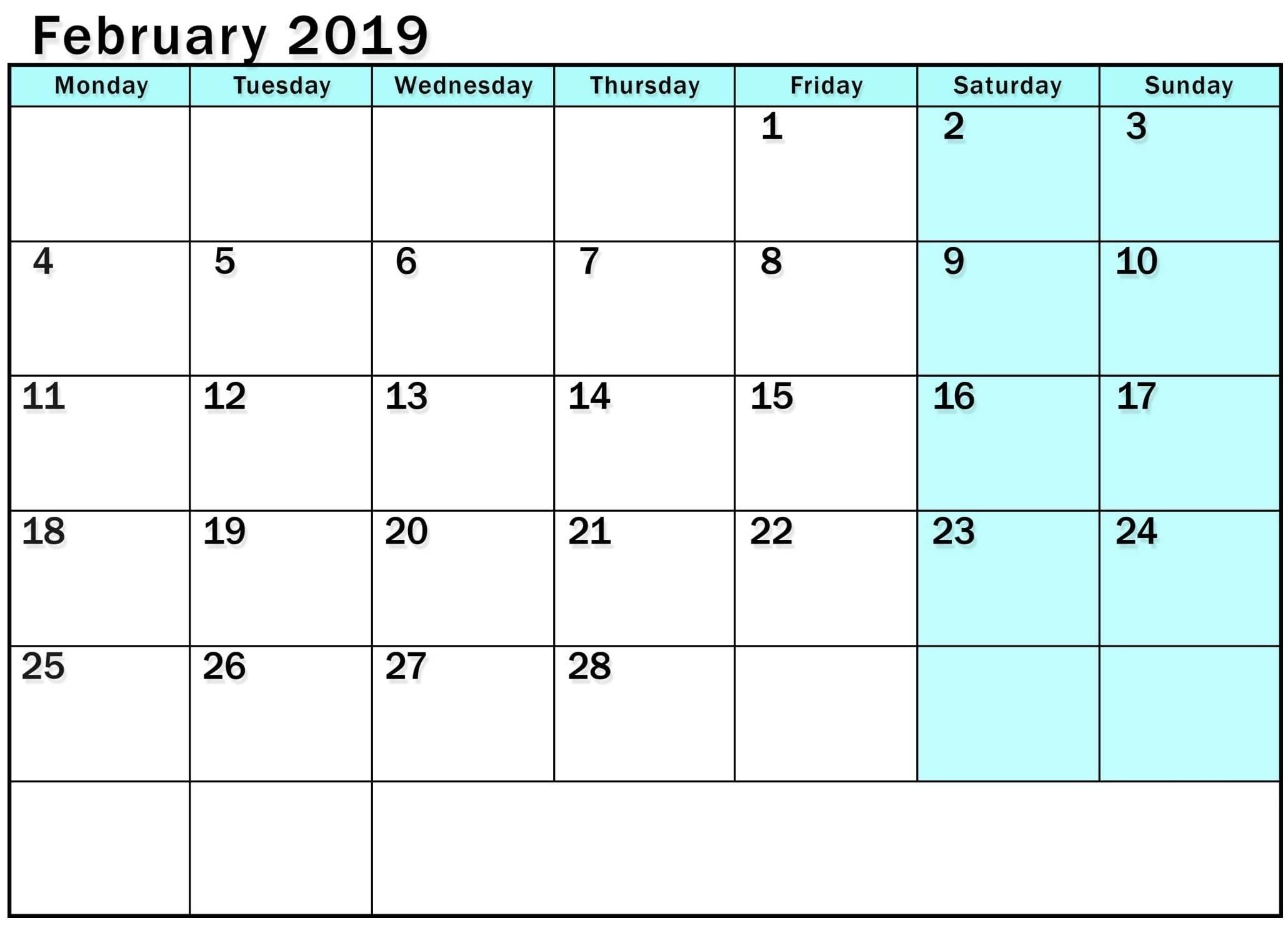 2019 Monday Through Sunday Calendar – Template Calendar Design