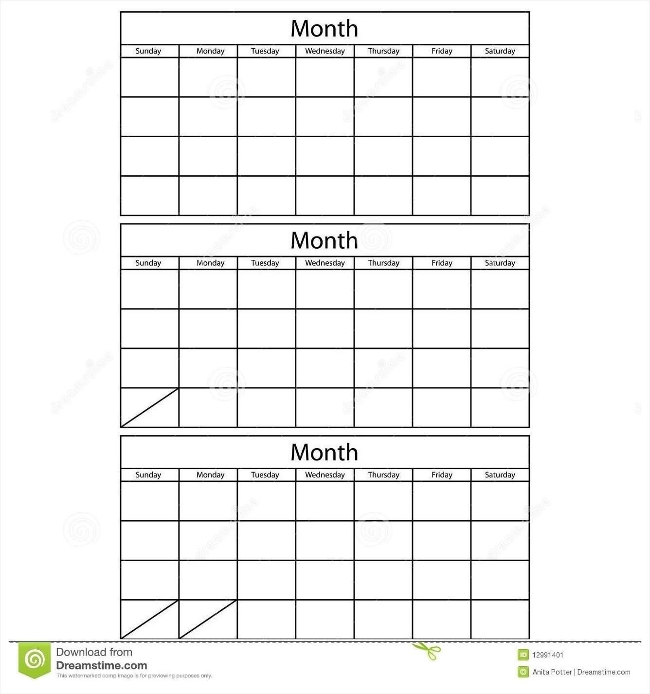 3 Month Blank Printable | Calendar Template Printable