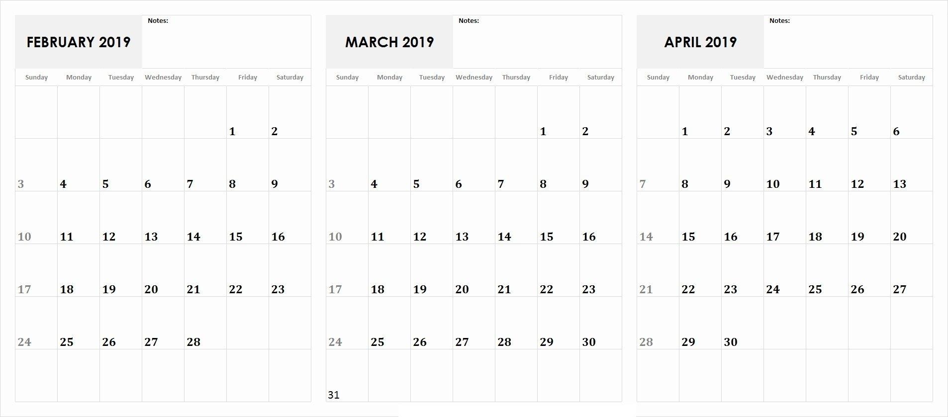 3 Month Calendar February, March, April 2019 Calendar | February Calendar, 2019 Calendar