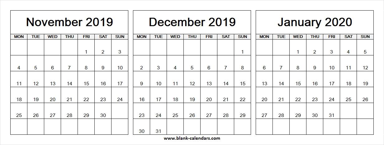 3 Month Calendar November December 2019 January 2020 | Blank Month