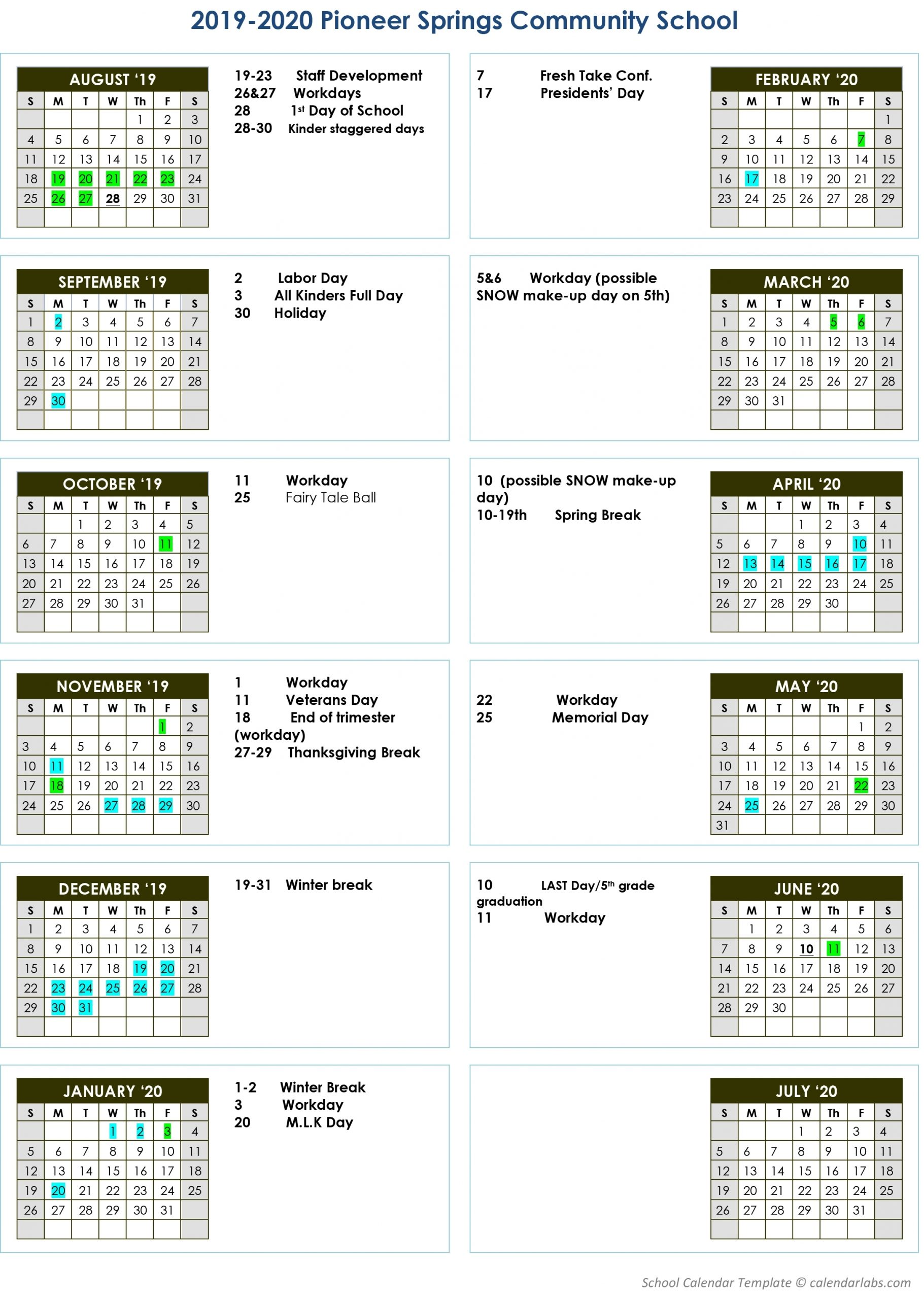 Academic Calendar - Pioneer Springs Community School Inc