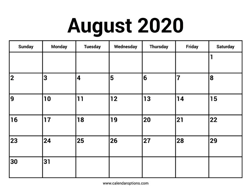 August 2020 Calendars – Calendar Options
