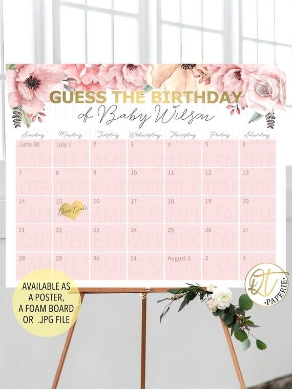 Baby Birthday Prediction Calendar, Guess The Birthday Sign, Gold Pink Birth Date Prediction