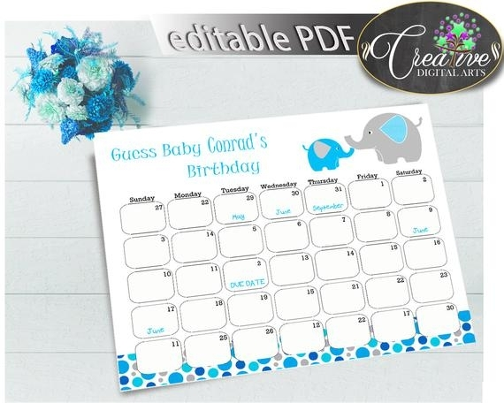 Baby Shower Boy Guess Baby Birthday Due Date Calendar Editable With Aqua Blue Elephant Color