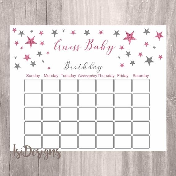 Baby Shower Guess Baby'S Birthday, Instant Download, Pink And Silver Twinkle Star Printable