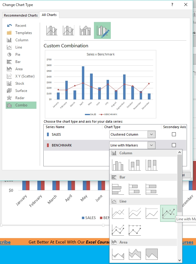Benchmark Chart In Excel 2013 | Free Microsoft Excel Tutorials