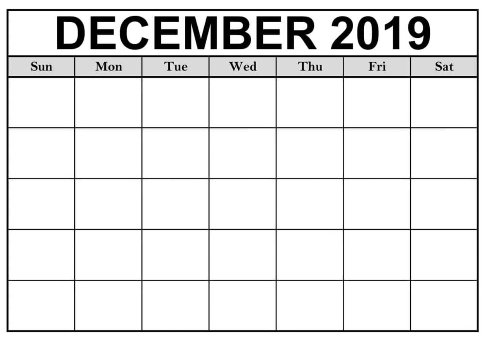 Blank December 2019 Calendar Printable | 12 Month Printable Calendar | Calendar Printables, 2019