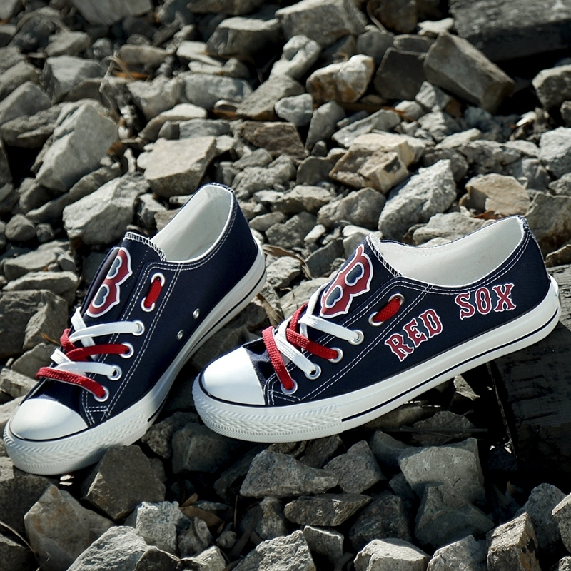 Boston Red Sox Limited Print Mlb Baseball Fans Low Top Canvas Shoes Sport Sneakers T-D850L - New