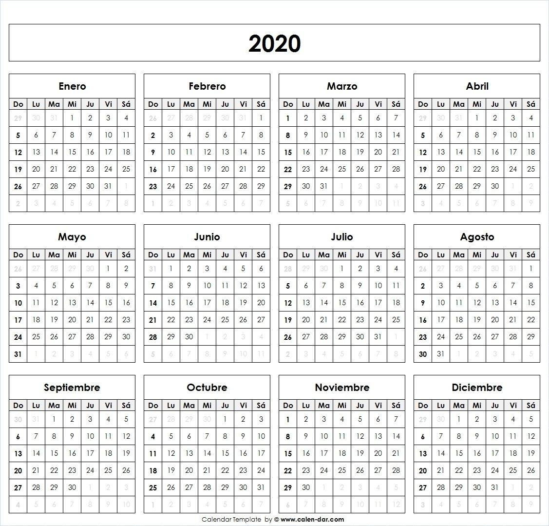 Calendario 2020 | Calendario En Blanco, Plantilla Calendario, Calendario