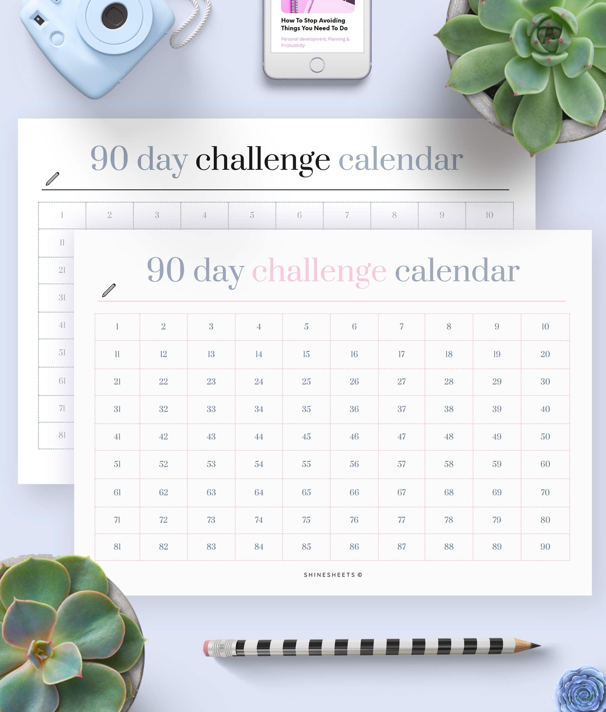 Challenge Calendar Printable / Habit Tracker | Shinesheets