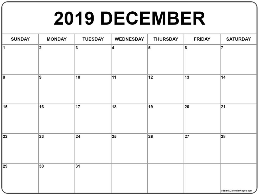 December 2019 Printable Calendar - Create Your Calendar For Free
