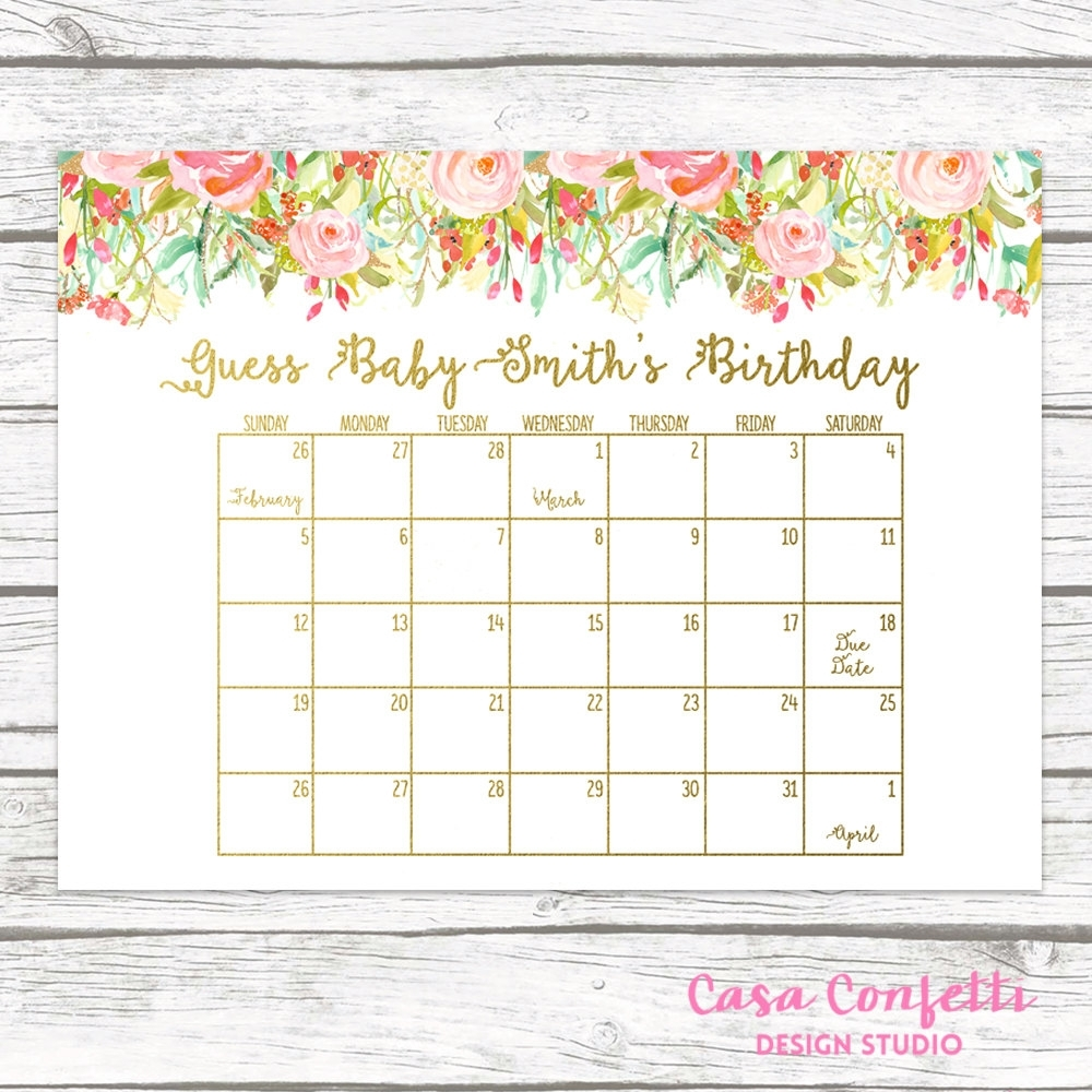 Due Date Calendar, Guess Baby'S Due Date, Baby Shower Game, Guess Baby'S Birthday, Birthday