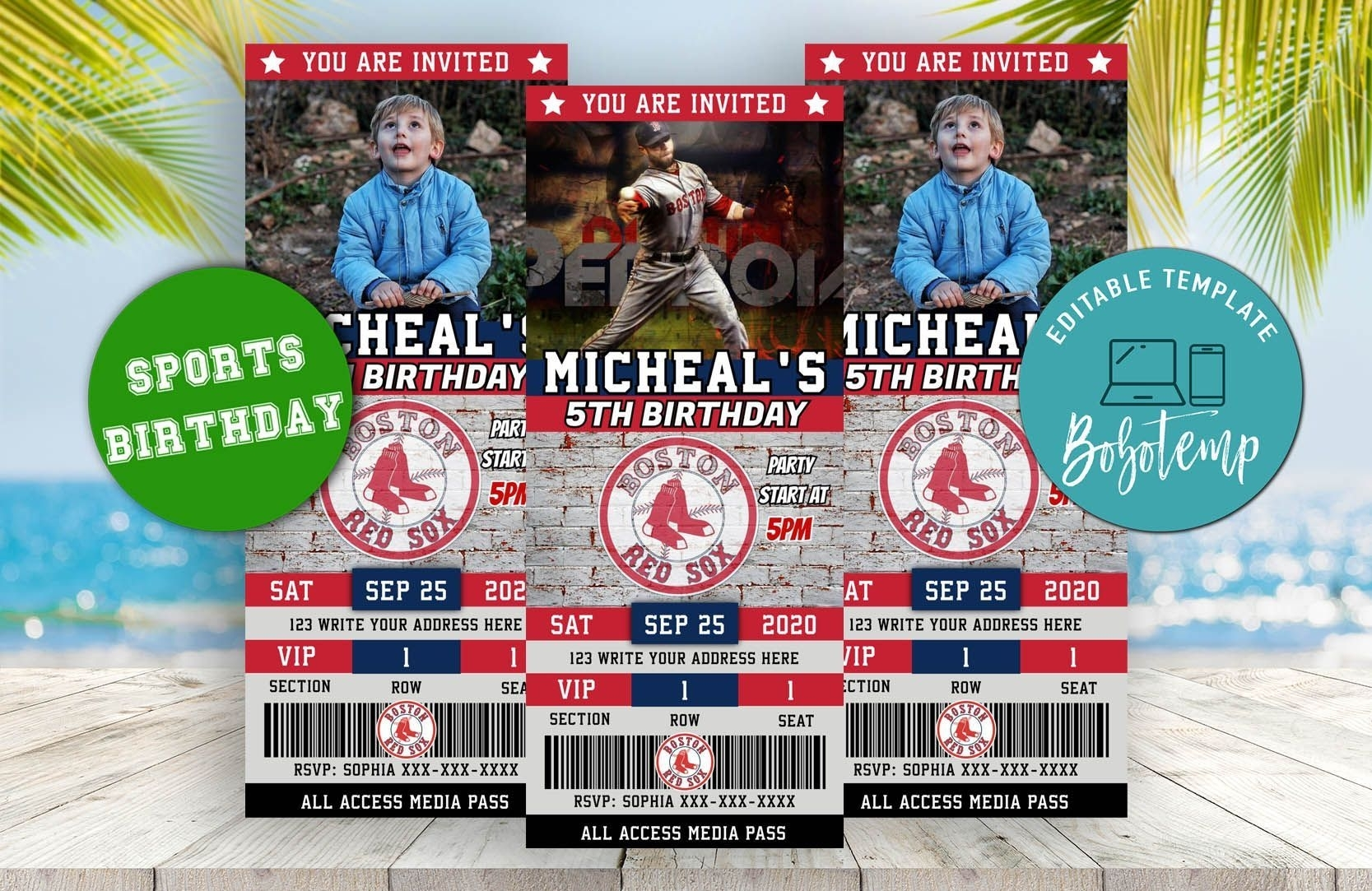 Editable Boston Red Sox Birthday Ticket Invitations In 2020 | Ticket Invitation, Sports Birthday