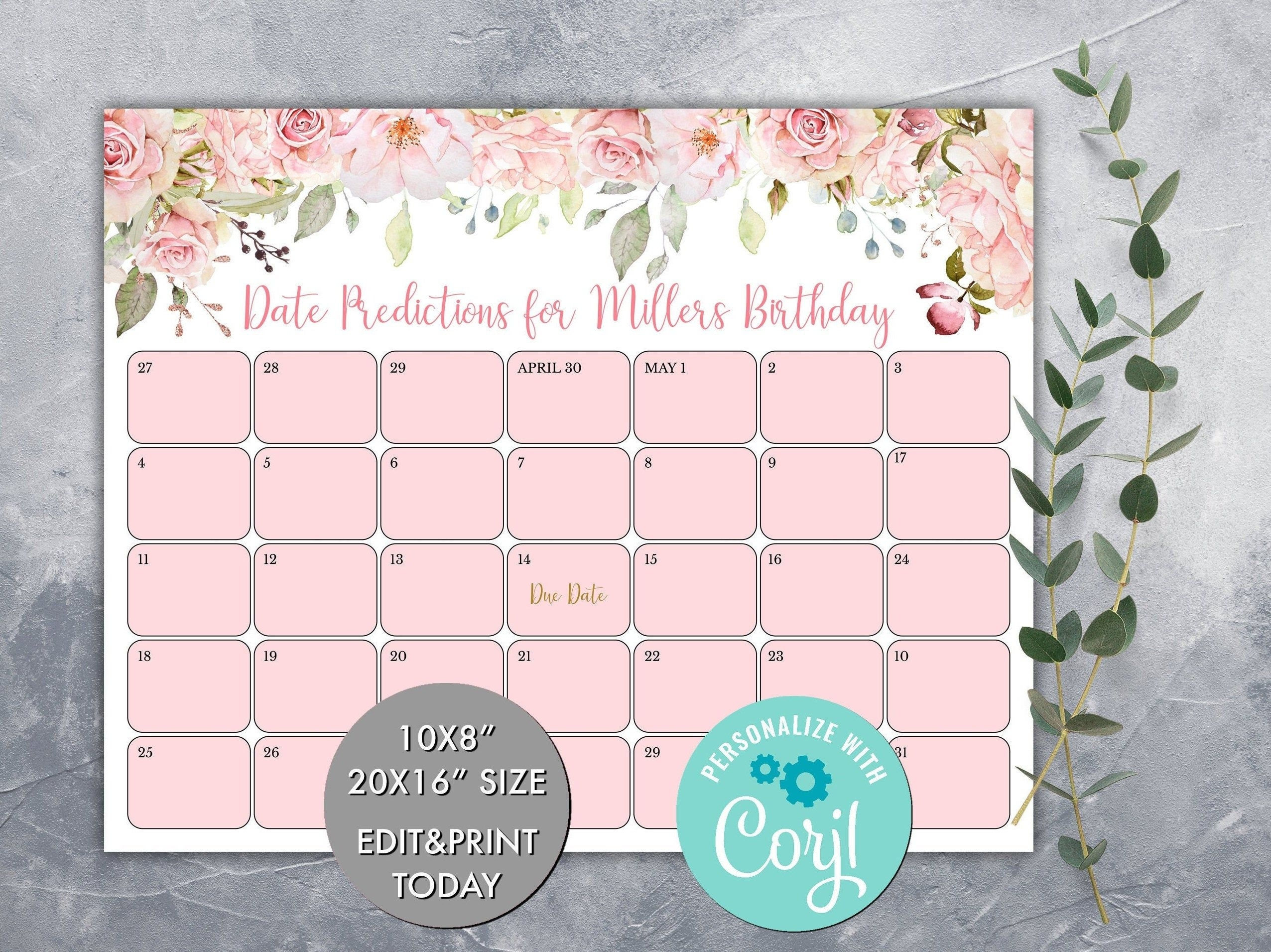 Editable Guess Baby'S Due Date Calendar Game, Pink Floral Baby'S Birthday Prediction Calendar