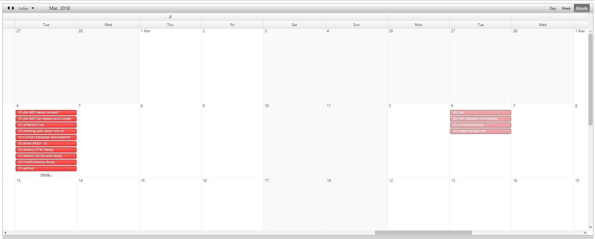 Enhanced Microsoft Access Calendar Scheduling Database Template - Web
