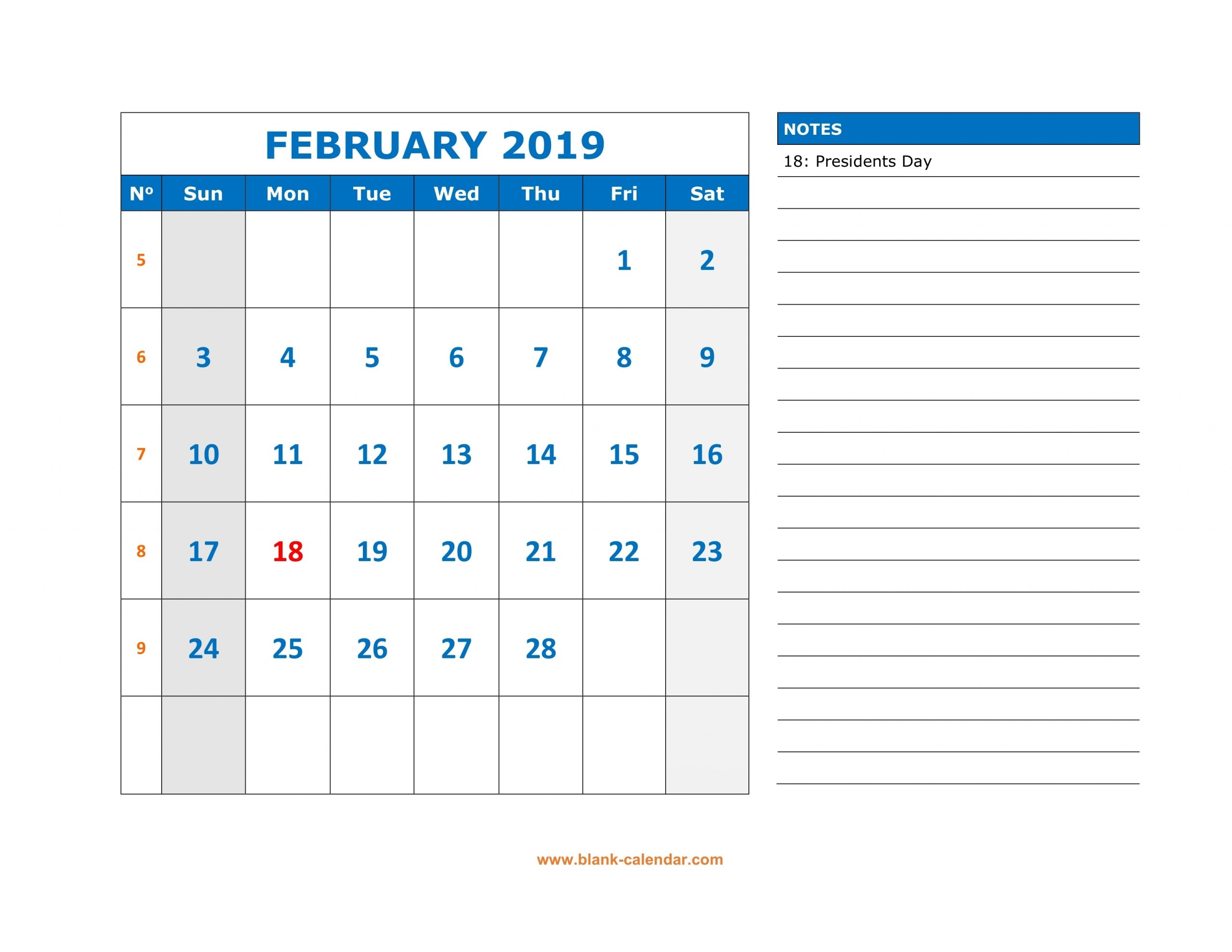 February 2019 Calendar With Notes