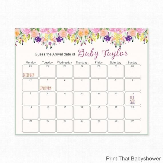 Floral Baby Shower - Guess The Due Date - Baby Shower Games - Baby Shower Birthday Prediction