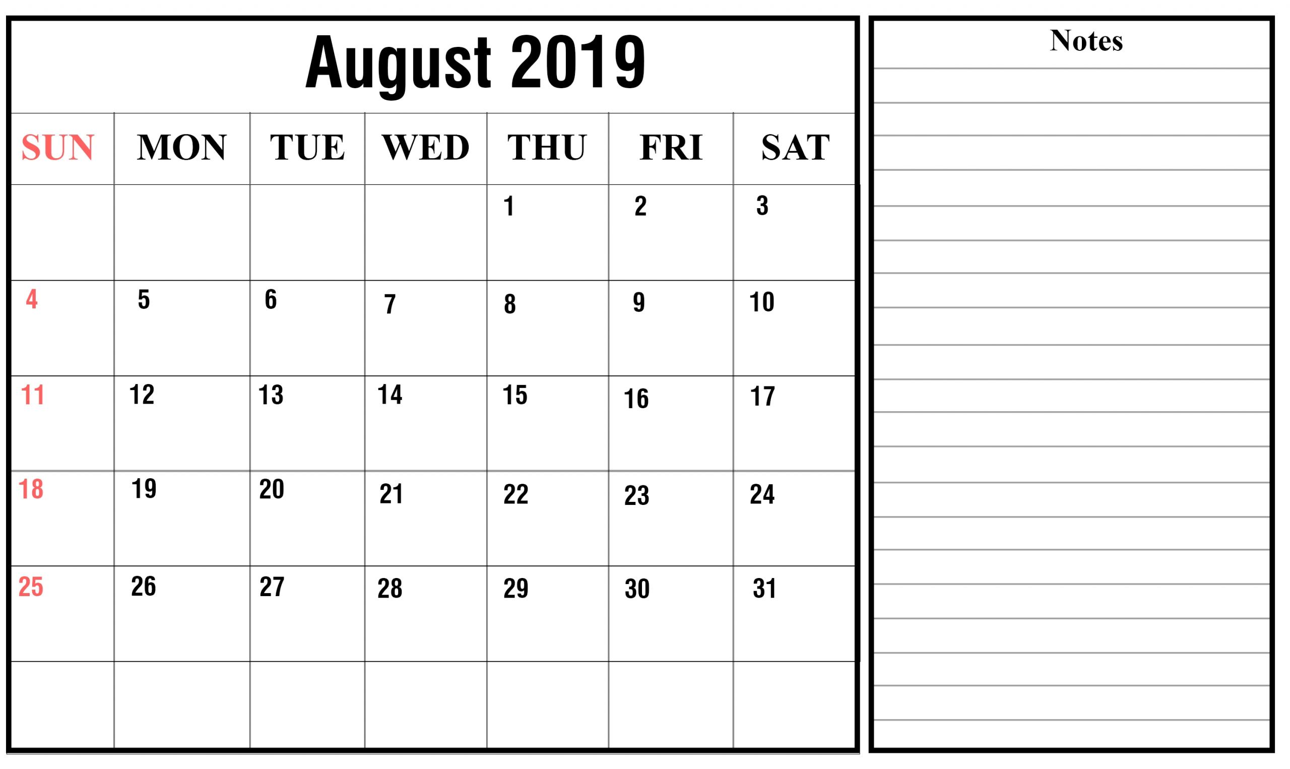 Free August 2019 Printable Calendar Templates {Pdf, Excel, Word}