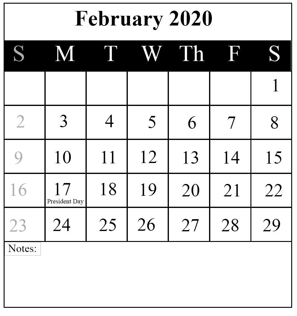 Free Download February 2020 Printable Calendar { Pdf,Excel & Word} | Printable June Calendar