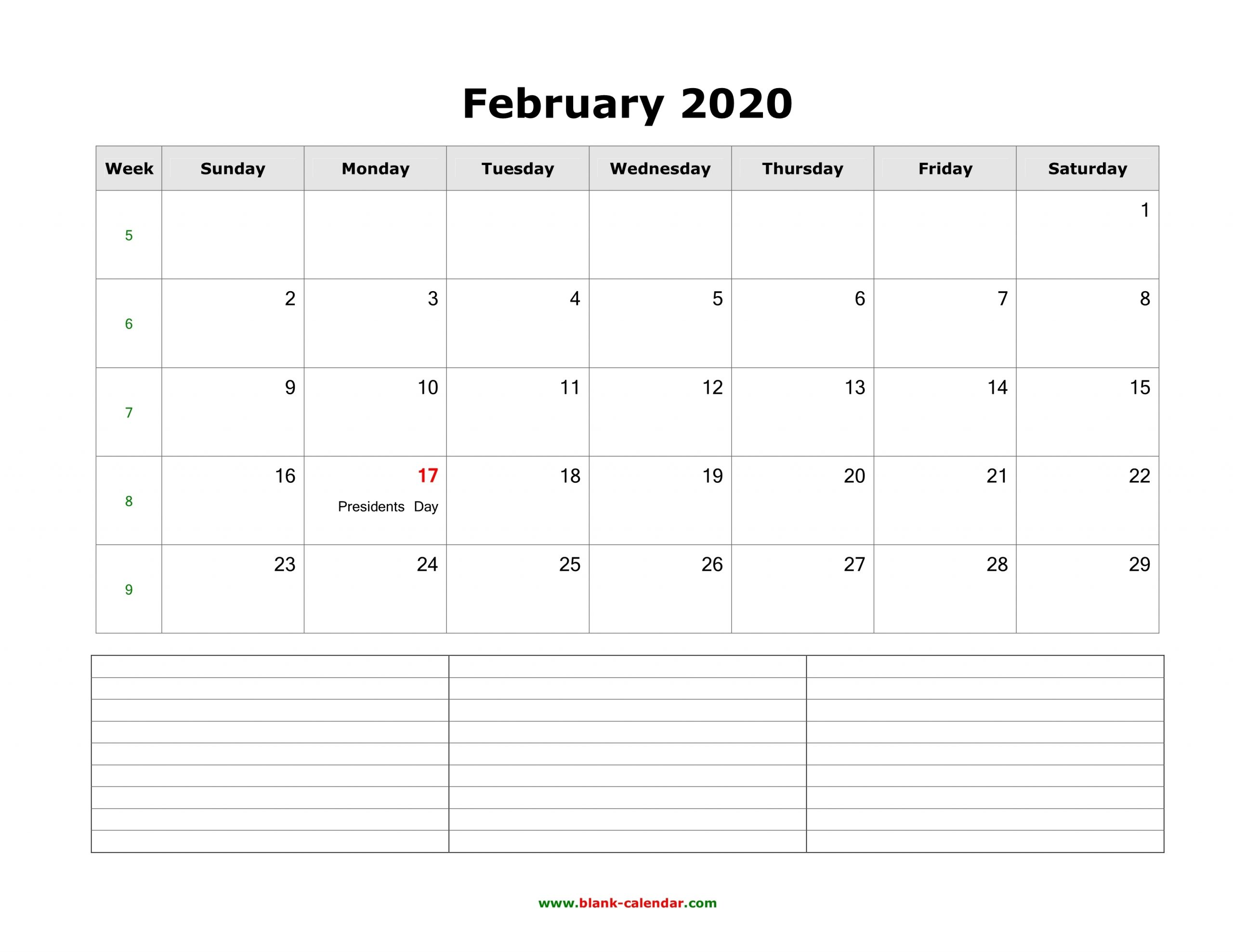 Free February 2020 Calendar Printable (Leap Year) - Blank Templates