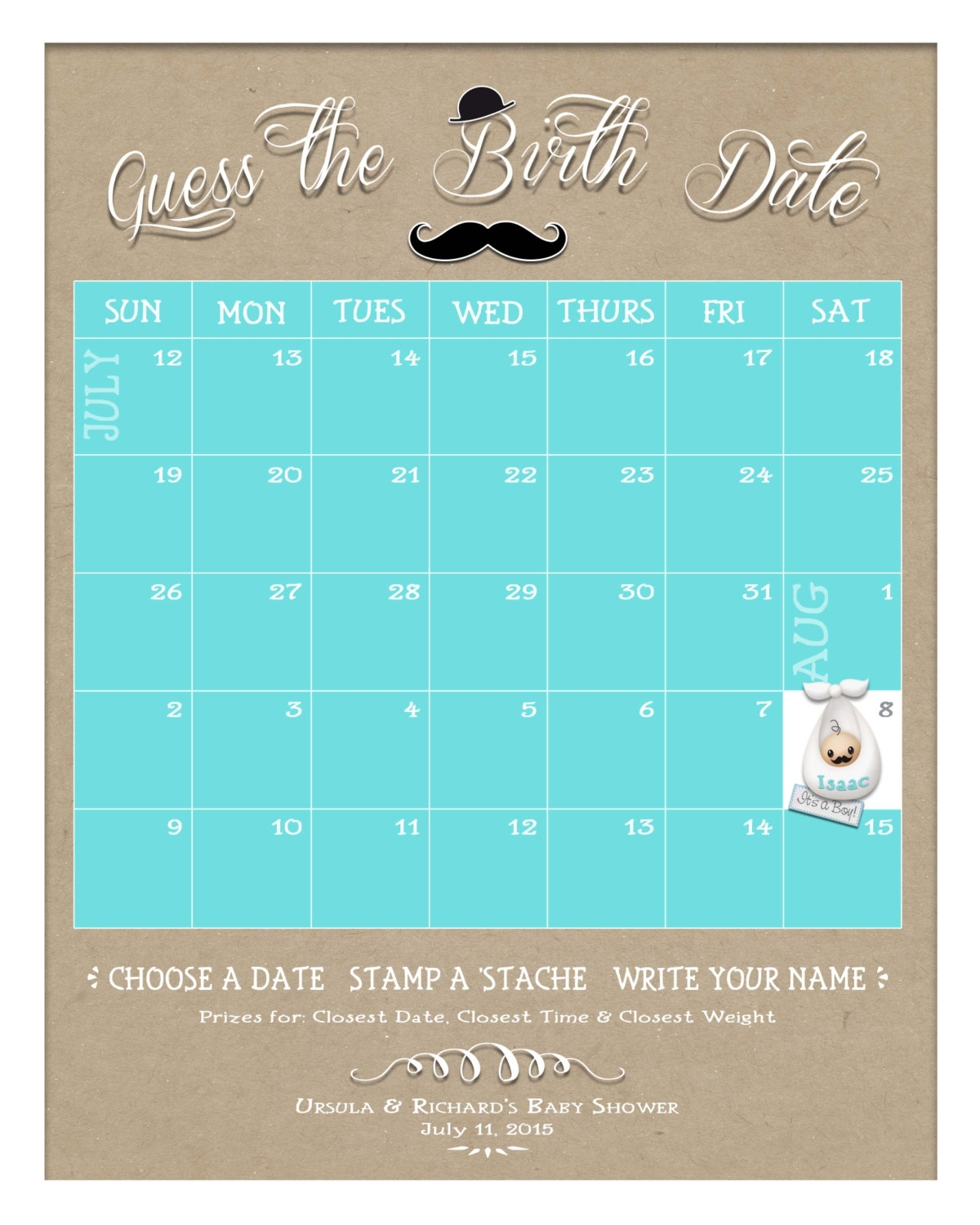 Guess The Birth Date Custom Baby Shower Game Board Keepsake