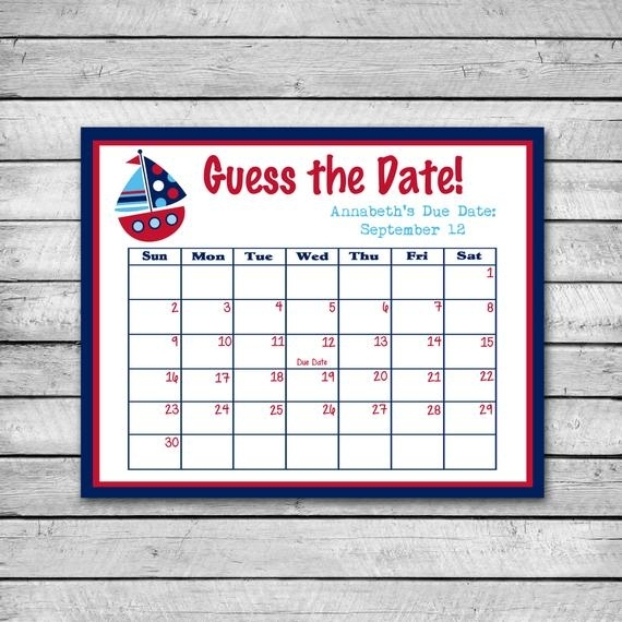 Guess The Date Boat Baby Shower Game Due Date Calendar