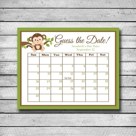 Guess The Date Monkey Baby Shower Game Due Date Calendar