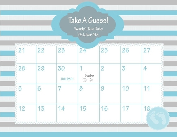 Guess The Due Date Template :-Free Calendar Template