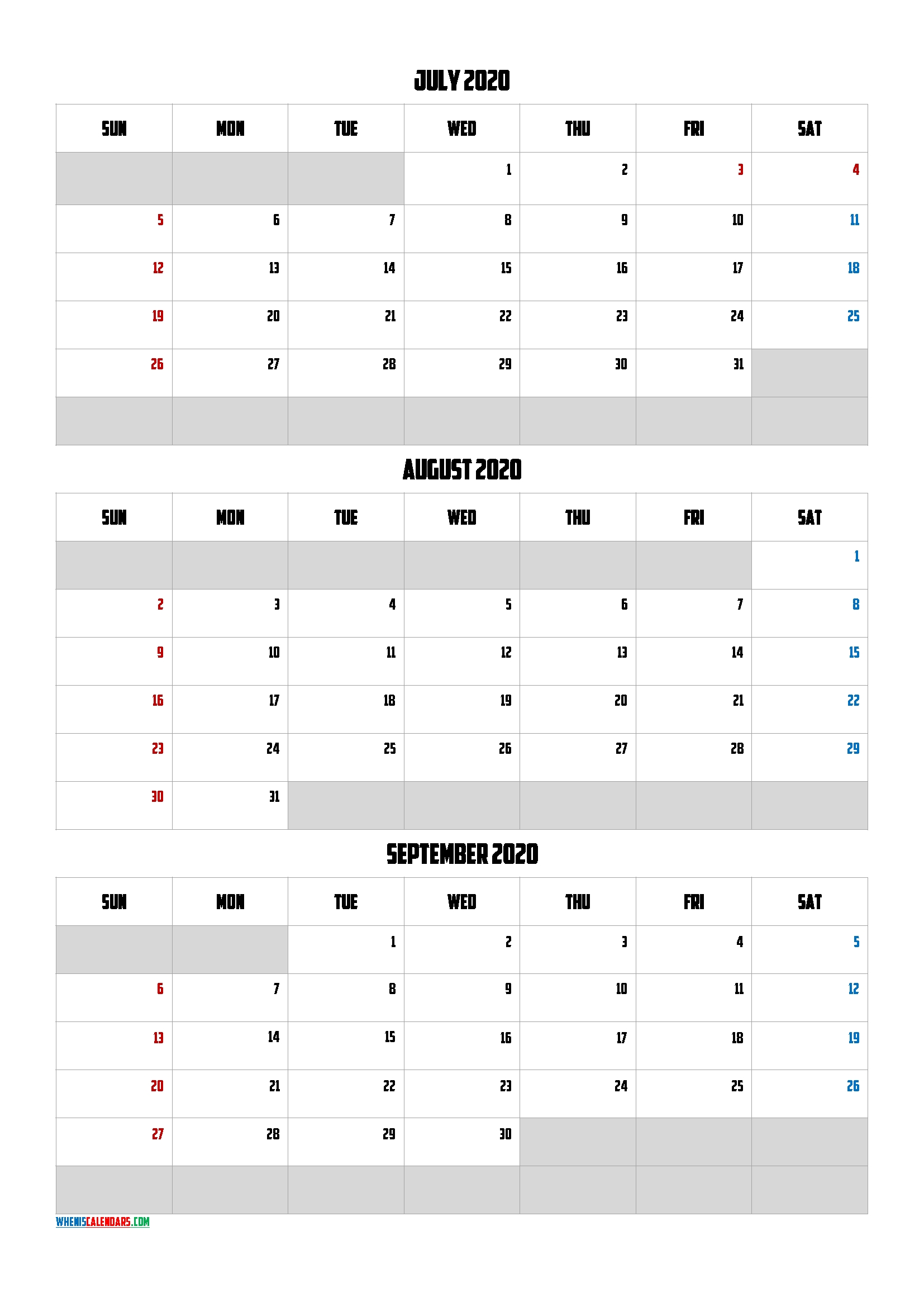 July August September 2020 Free Printable 3 Month Calendar-20Am5 – Free Printable 2020 Monthly