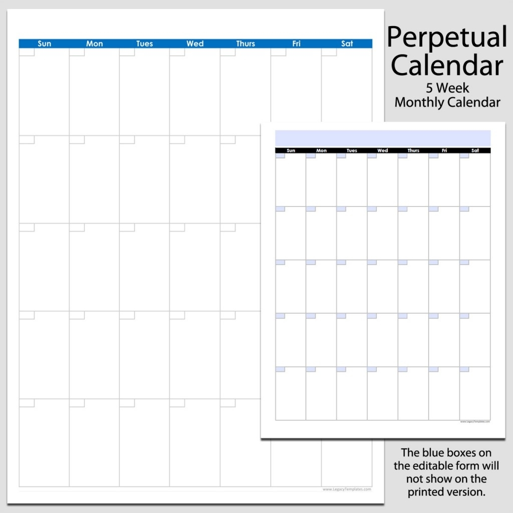 Monthly Perpetual Calendar In Portrait – 8 1/2″ X 11″ | Legacy Templates