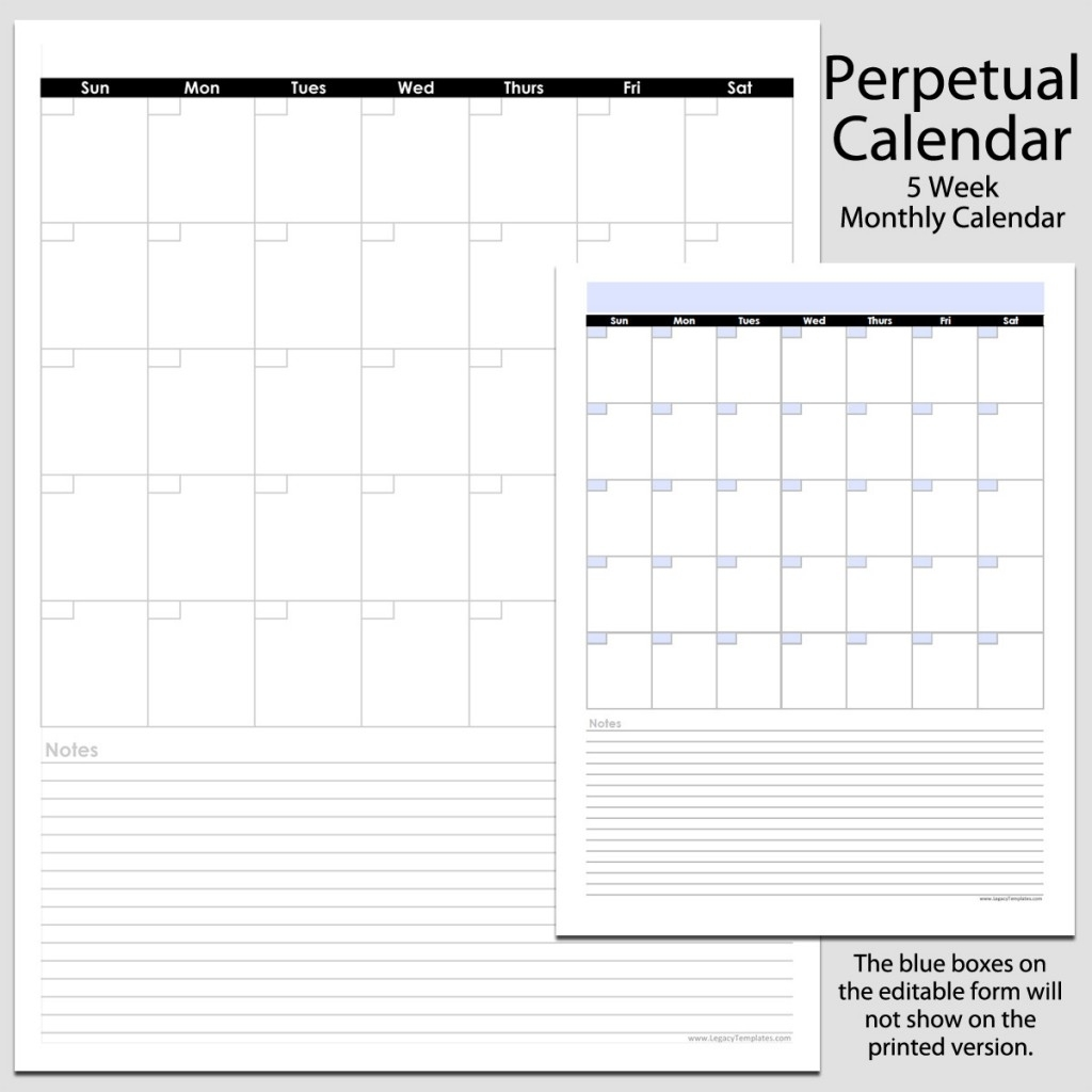 Monthly Perpetual Calendar With Notes In Portrait – 8 1/2″ X 11″ | Legacy Templates