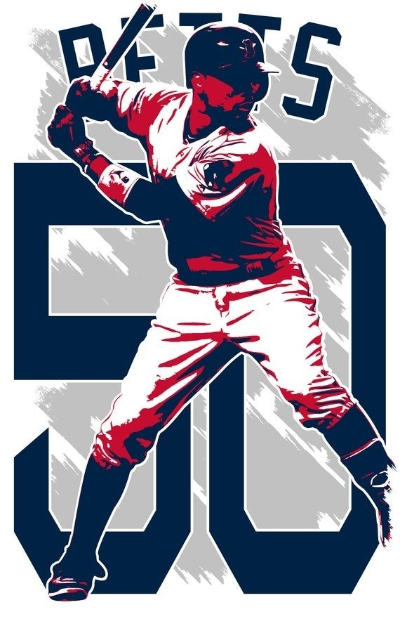 Mookie Betts Art Print Boston Red Sox Free Shipping | Etsy In 2020 | Mookie Betts, Boston Red