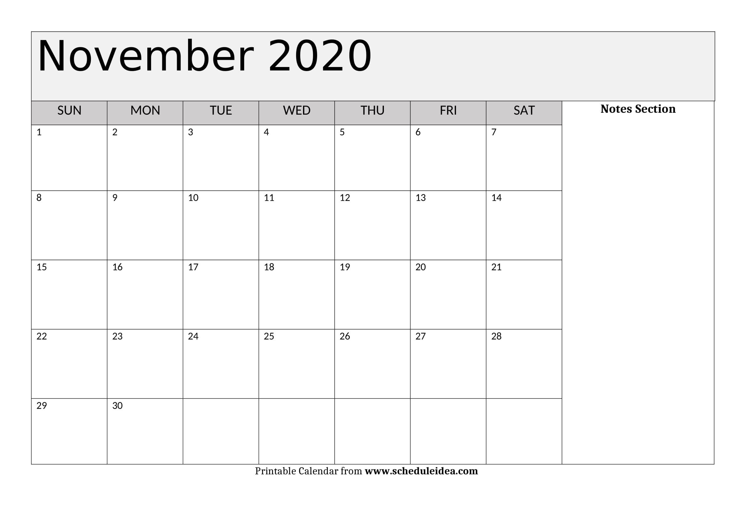 November 2020 Printable Calendar - Editable Templates (Pdf, Word)