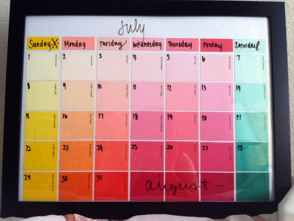 Paint Swatch Calendar In A Picture Frame You Can Write On With Dry Erase Marker. | We Know How