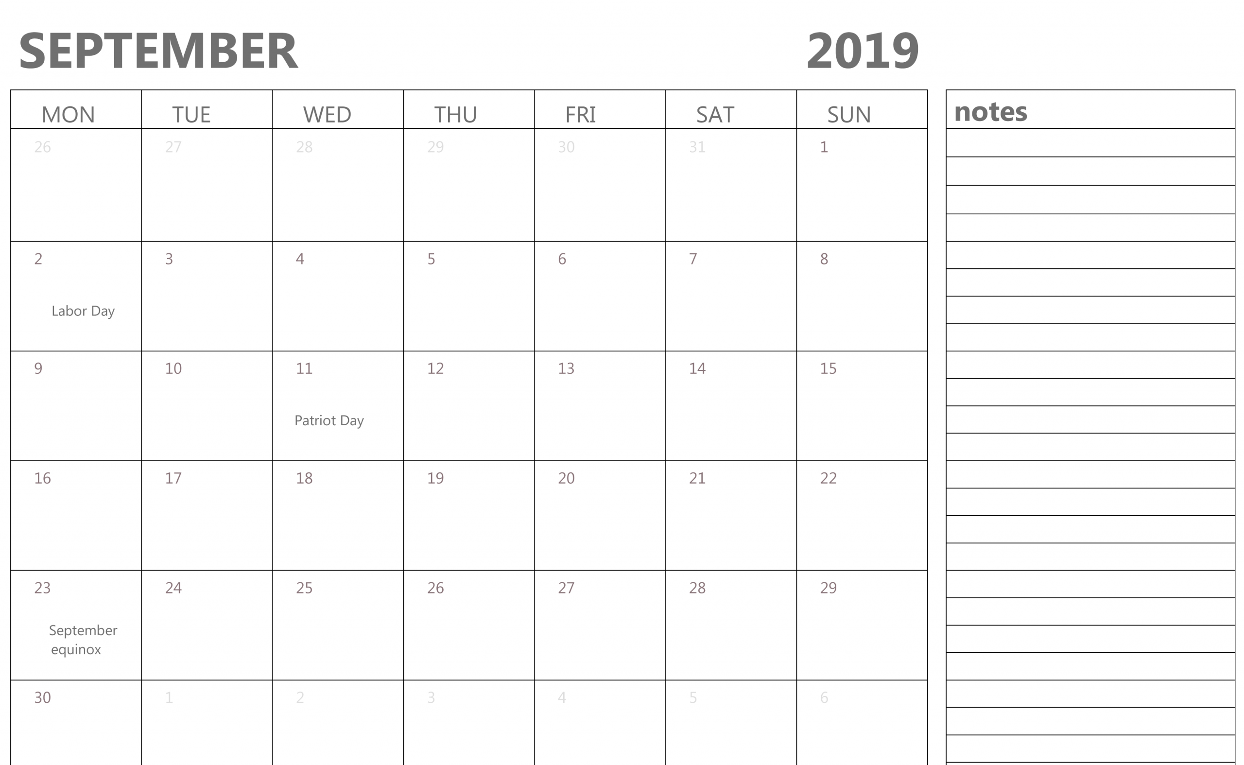 Printable Calendar With Notes | Calendar Printables Free Templates