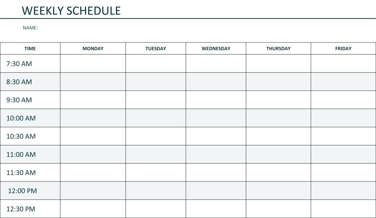Printable Weekly Schedule Monday Through Friday - Calendar Inspiration Design
