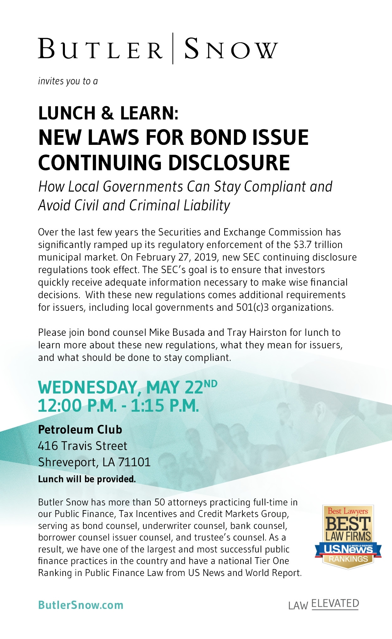 Shreveport Lunch & Learn: New Rules For Bond Issue Continuing Disclosure - Butler Snow