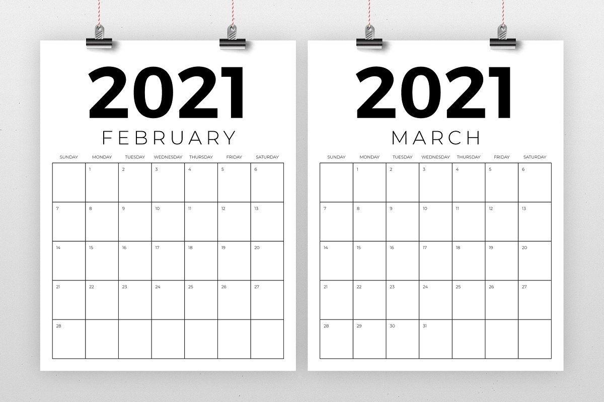 Vertical 8.5 X 11 Inch 2021 Calendar (2020) | 2020 Calendar Template