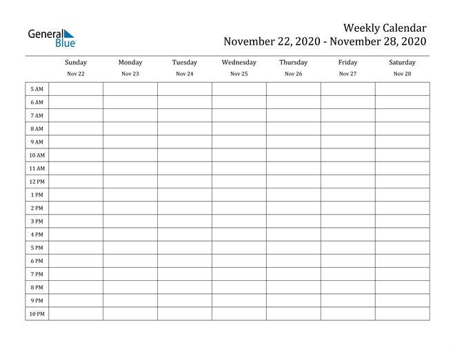 Weekly Calendar - November 22, 2020 To November 28, 2020 - (Pdf, Word, Excel)